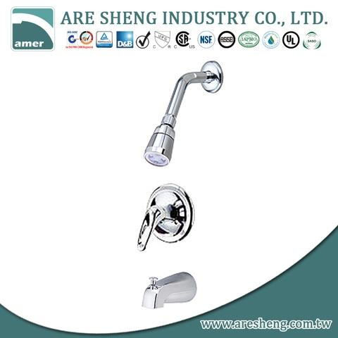 Taiwan Two Loop Handles Tub Shower Faucet With Diverter Spout