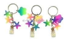 Mini Sand Bottle Key Chain (with starfishes)