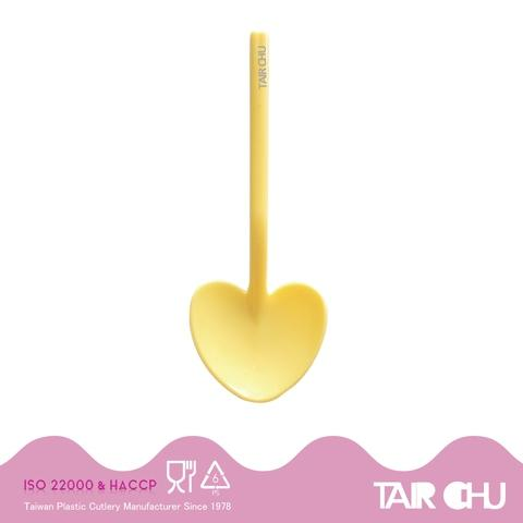 9cm PS Light Yellow Disposable Plastic Heart Shaped Spoon/ Ice Cream Spoon Made by Taiwan Factory