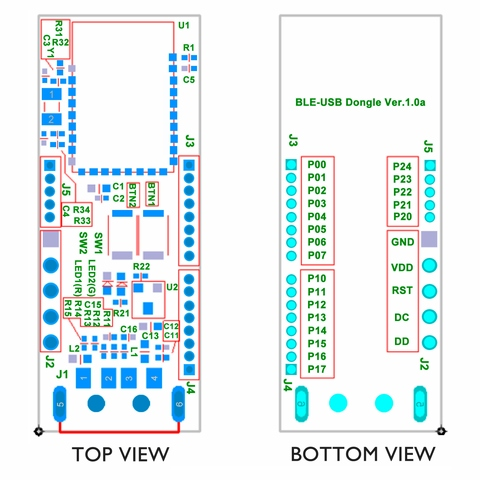 Bluetooth LE USB Dongle Development Kit HW placement