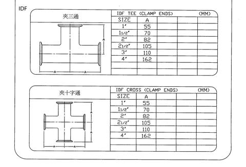 IDF Tee , Corss (Clamp Ends) Model and  Size