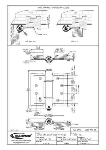 "Waterson Soft-Closing Hinge -4.5""x4.5"" Aluminum"