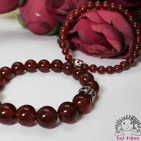 Red Agate 6mm+10mm Beaded Lovers Bracelets