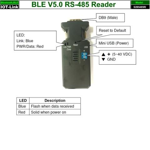 Bluetooth BLE V5.0 Beacon RS485 Reader profile