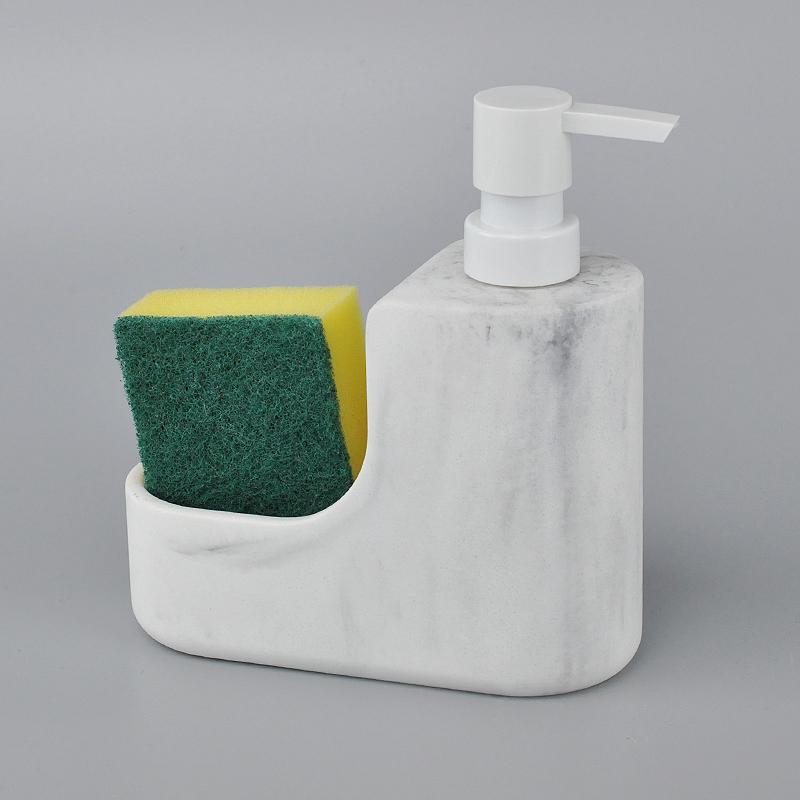 Fancy White Marble Grain Soap Dispenser With Sponge Brush ...