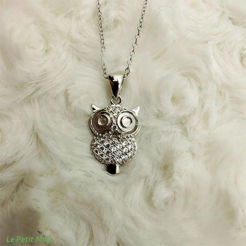 Doe-eyed Owl Silver Necklace Zircon Pendant