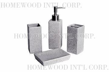 Bath Accessories / Ceramic Bathroom Set / Imitation Stone Effect / Soap  Dispenser, Tumbler, Toothbrush Holder, Soap Dish / Beige, Grey