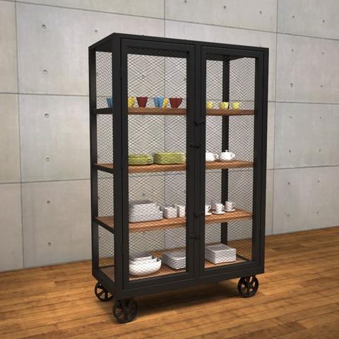 Taiwan Loft Style 2 Doors Metal Storage Cabinet With Wheels