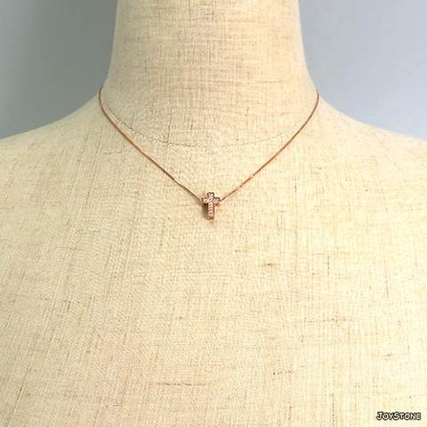 04a6c6f12a041 Taiwan Silver Cross Clavicle Necklace Thick Rose Gold Length 10mm ...