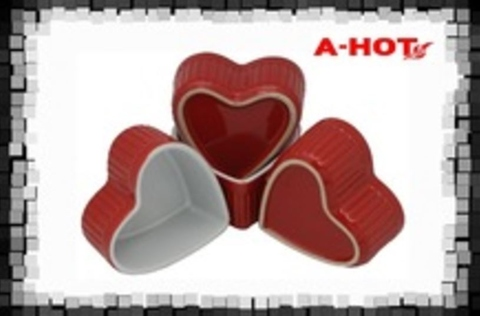 HIGH QUALITY COOKING CERAMIC HEART RAMEKINS BOWL