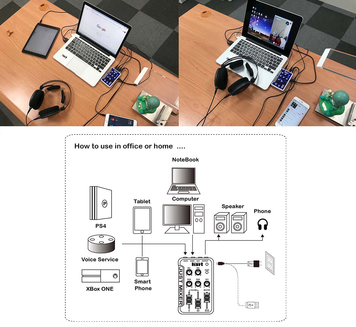 Taiwan Maker Hart 3 Channel Portable Size Audio Mixer Just Diagram