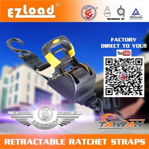Quick Loader Retractable Automatic Adjusting Ratchet Tie Down Strap 3000 lbs