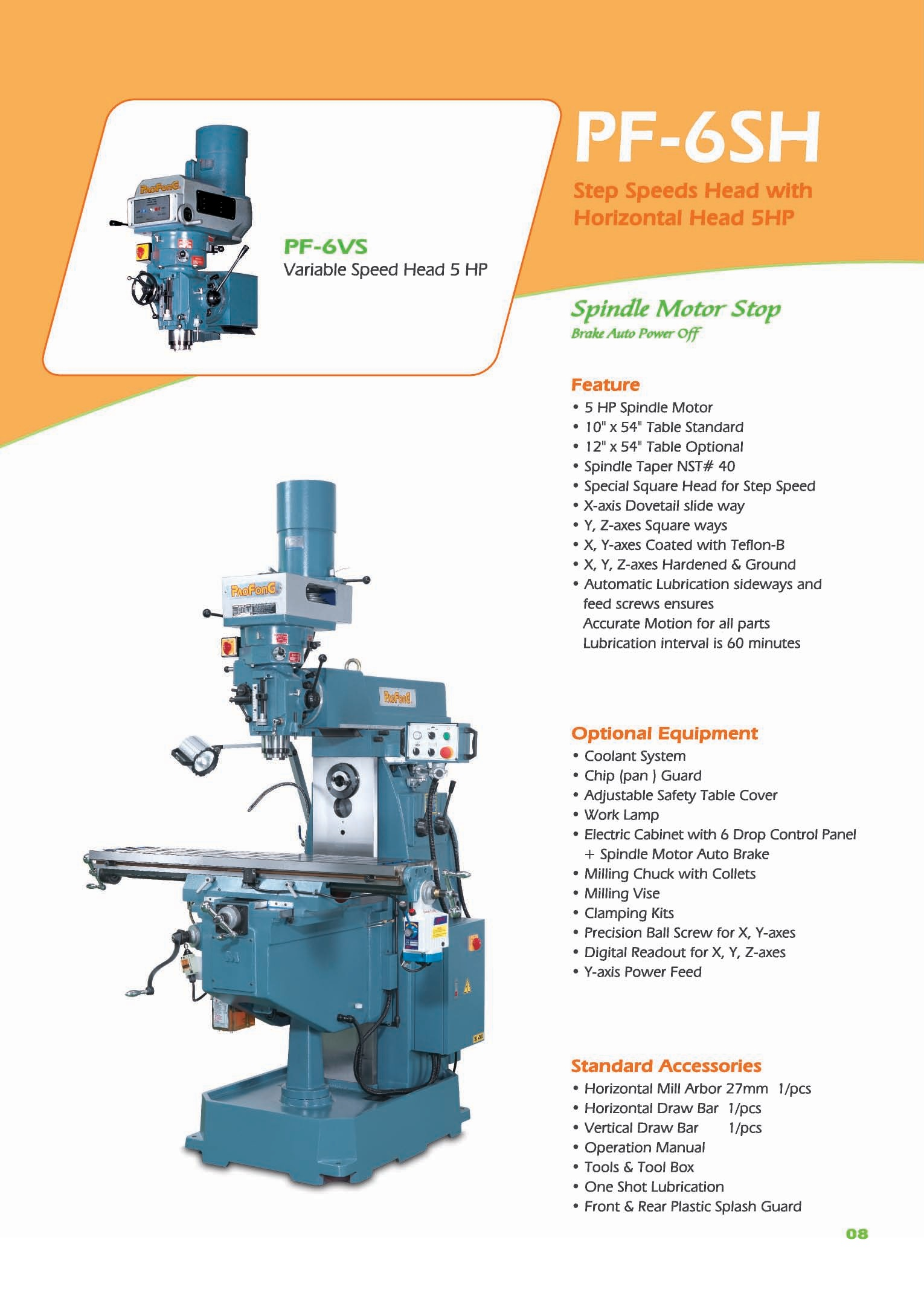 Vertical Turret Horizontal Milling Machine Pao Fong Industry Co Motor And Control Parts Optional Built With Strong Structure Are Suitable For Processing Various Kinds Machines Mold Metal Extensively