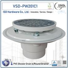 Low Profile Shower Pan Drain - Plastic Rim: PVC