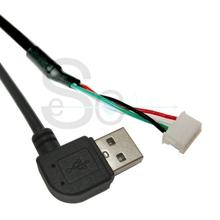 USB A Male 90 Deg to ZHR-04 1.5mm 4P Housing Cable Black