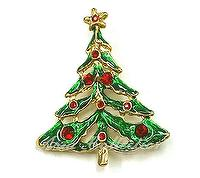 Christmas Tree Enamel Brooch