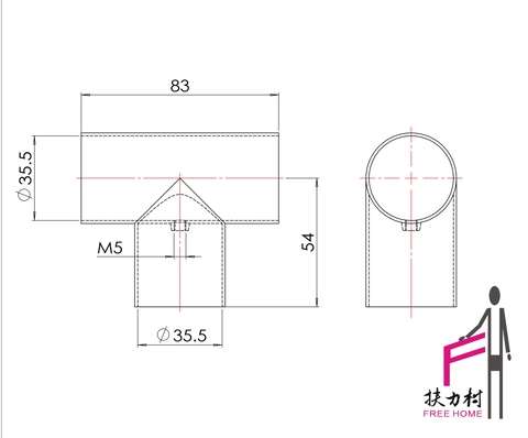 Handrail fitting 3-way elbow /pipe connector/ tees fitting