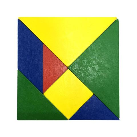 Assorted Colors Wood Tangram Puzzle