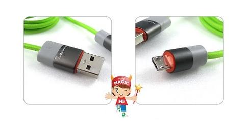 USB 2.0 Micro USB Nylon Braided Cable-Green-1.5M