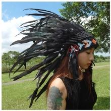 Native American Feather Indian Headdress Warbonnet Chief - S