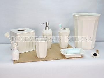 6pcs white ceramic bathroom accessories set
