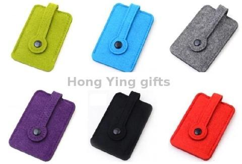 Portable Simple Felt Metal Ring Key Bag with Snap