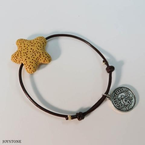 Aquarius Zodiac Sign Star Aroma Rock Leather Bracelet