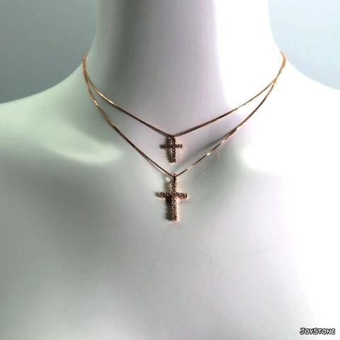 JOYSTONE Rose Gold Plated Silver Chain Cross Necklaces Pendant Option