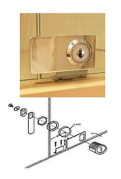 Taiwan Cabinet Swinging Glass Door Lock For Double Doors