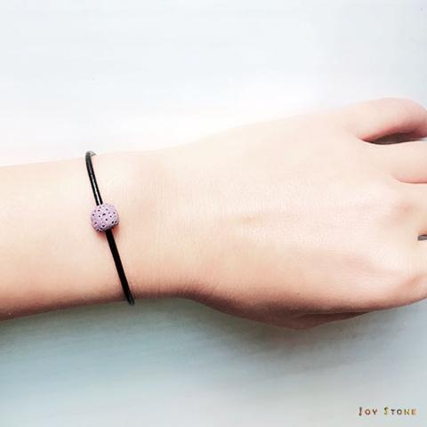 Purple Lava Bead Diffuser Thin Black Leather Bracelet