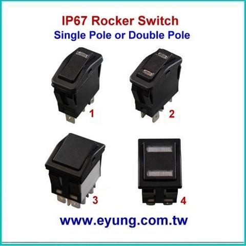 Taiwan IP67 Single Pole or Double Pole Rocker Switch