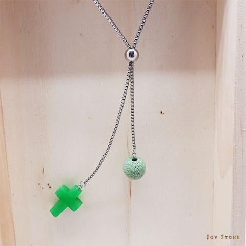 綠玉寶石十字架香氛石項鍊 天然水晶