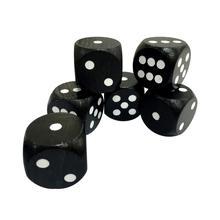25mm white dot, black color round corner wooden dice