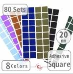 "20mm(3/4"") Self-Adhesive Square (80 Sets)"