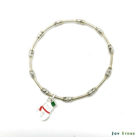 Snowman Silver Beads Bracelets Double Sided Pattern