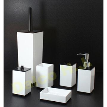 Taiwan acrylic black white bathroom accessories set for Black and white bathroom sets