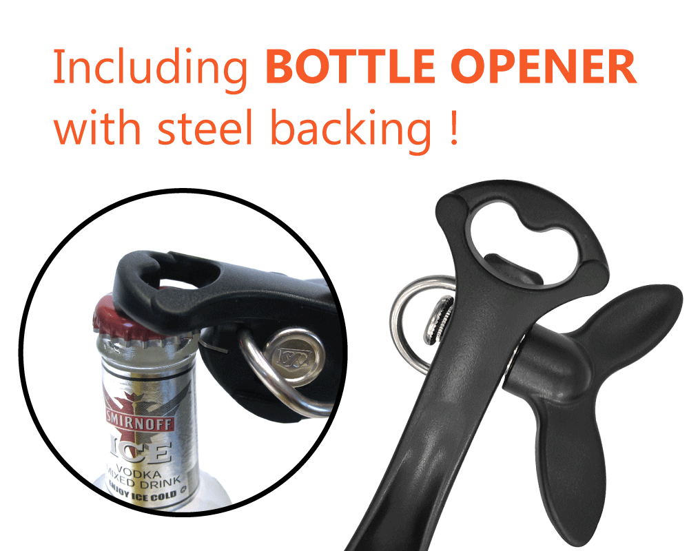 Safety can opener also comes with bottle opener.