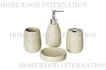 Bath Accessories / Ceramic Bathroom Set / Imitation Stone Effect U0026 Ripple  Texture / Soap Dispenser, Tumbler, Toothbrush Holder, Soap Dish / Beige