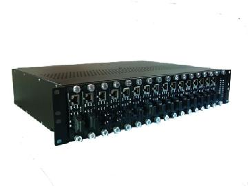 16-slot Fiber Media Converter Chassis with redundant power