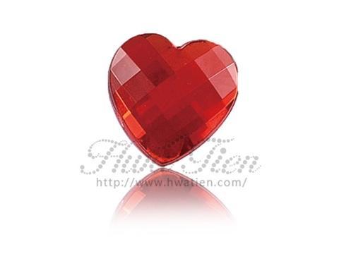 Red Heart Check Acrylic Gemstone, HT Gemstone Factory