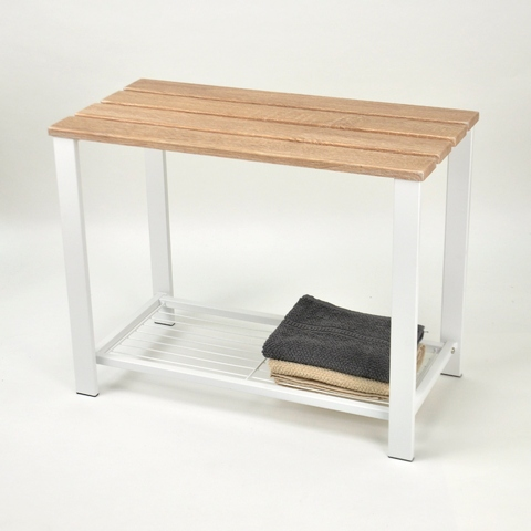 Phenomenal Wooden Double Stool With Mesh Wire Shoes Rack On The Bottom Short Links Chair Design For Home Short Linksinfo