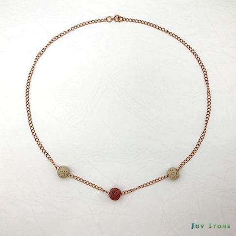 Triple-Beaded Titanium Steel Rose Gold Diffuser Necklace