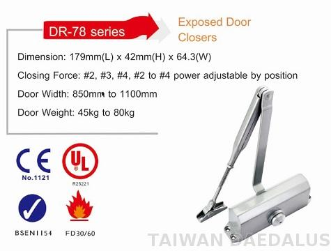 Surface mounted door closer for 65 kg door CE certified UL listed