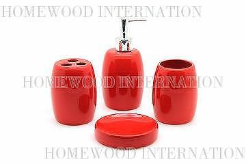 Bath Accessories / Ceramic Bathroom Set / Soap Dispenser, Tumbler, Toothbrush  Holder, Soap Dish / Red