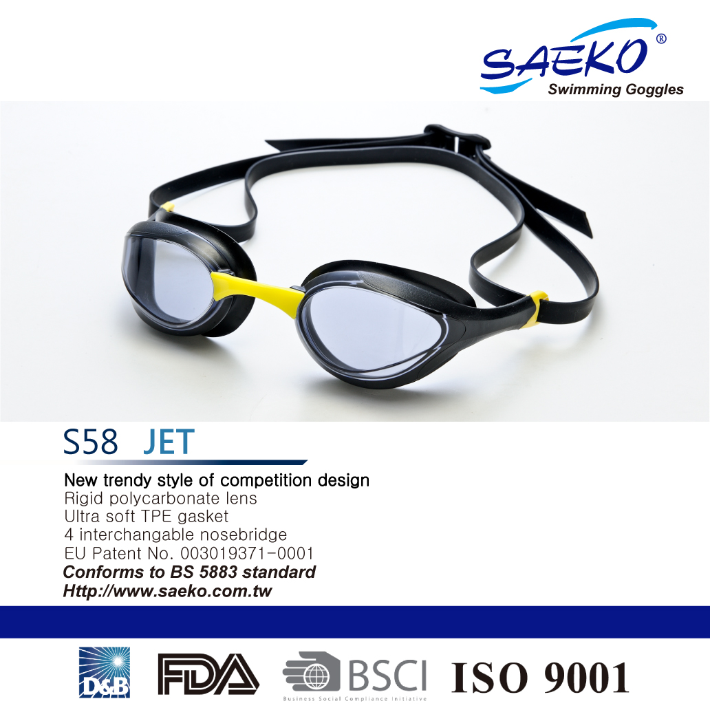 2dcd0f47f1c2 Taiwan SWIMMING GOGGLES S58 JET 2017 newest -Color Black Yellow ...