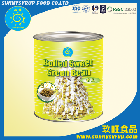 Hot Sale Wholesale 3kg Boiled Sweet Green Bean Sunnysyrup Bubble Tea Supplier