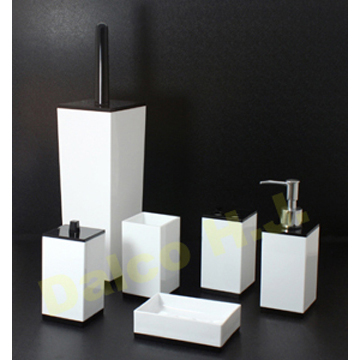 Taiwan Acrylic Black White Bathroom Accessories Set Utensil