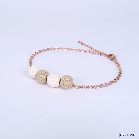Quadruple-Bead 2 Color Beige Aroma Rock Diffuser Bracelet