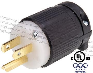 NEMA 5-15 Plug, 15 Amp 125 Volt  2-Pole 3-Wire