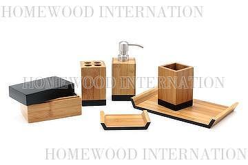Bath Accessories Bamboo W Black Bathroom Set Taiwantrade Com
